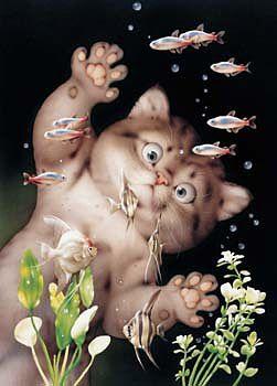 makoto muramatsu art paintings cats pets