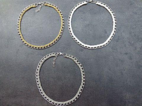 Diana - Ketting Gehaakte ketting. Handgemaakt. Kleur te kiezen Goud, Zilver of Wit.