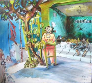 """Saatchi Art Artist Eva Schumy; Painting, """"Banana Shop"""" #art"""