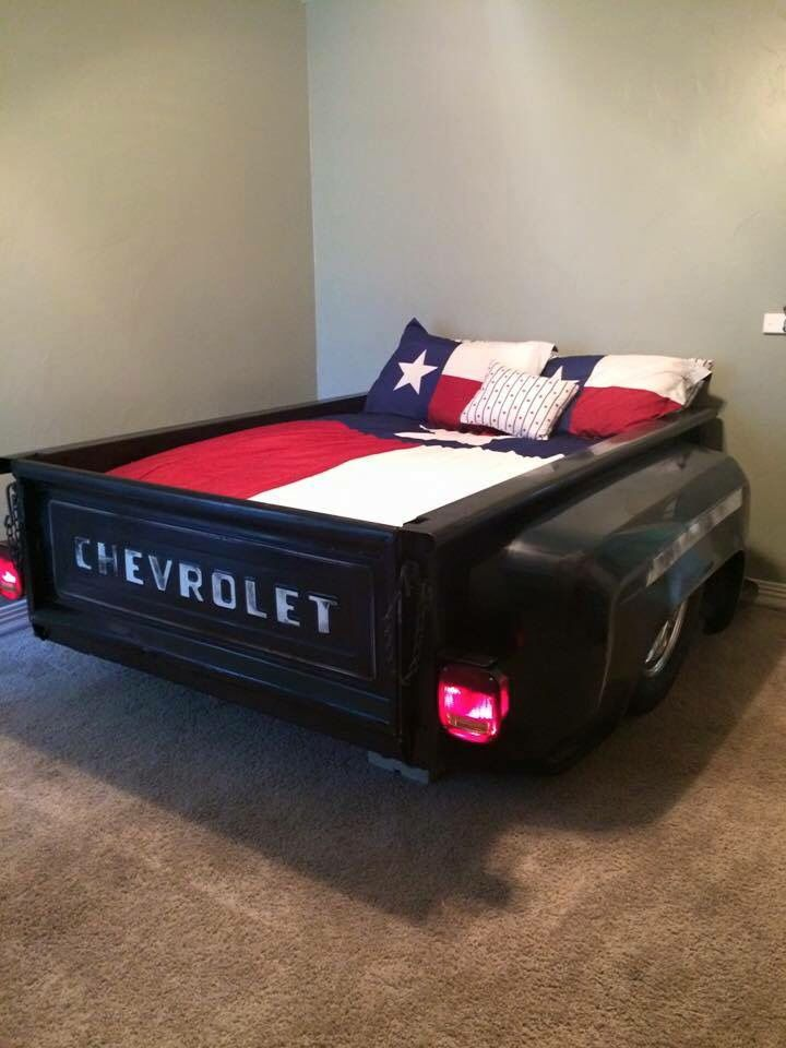 A bed made from the bed of a classic Chevy pickup - How cool is this?!