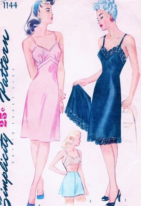 1940s Pin Up Style Slip and Tap Panties Lingerie Pattern Simplicity 1144 Figure Flattering Bias Cut Slips Two Style Versions Side Button Panties Bust 34 Vintage Sewing Pattern