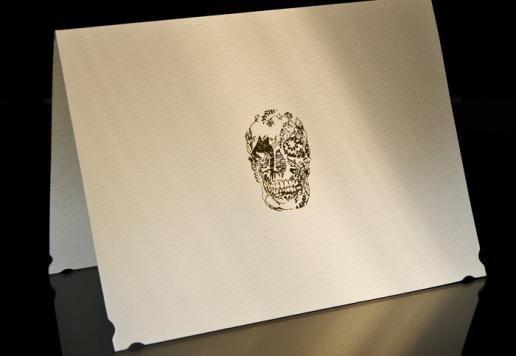 stationary: Delft Skull, Paper Goodies, Skull Stationery, Stationery Sets, Skull Invitations, Silver Embossing, Skull Stationary, Stunning Stationary, Embossing Note