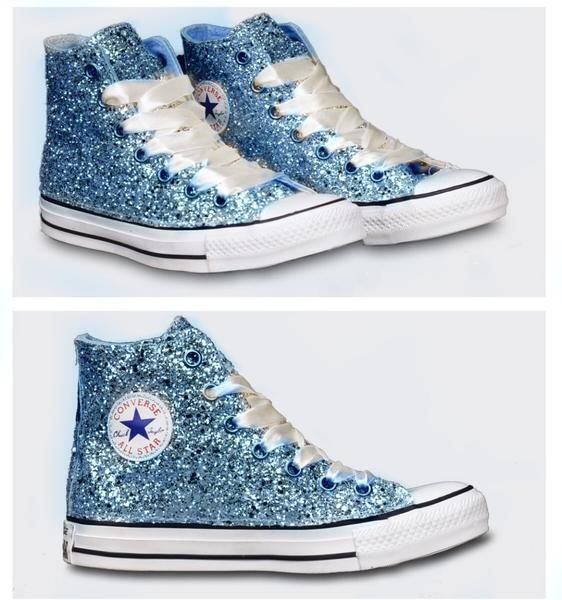 15 OFF with code  PINNED15 Womens Sparkly Glitter Converse All Stars Baby  Blue High Top Cinderella wedding bride shoes  glittershoesconverse 080c348805