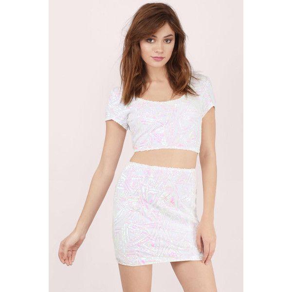 Tobi Stellar Sequin Mini Skirt (£19) ❤ liked on Polyvore featuring skirts, mini skirts, white multi, white mini skirt, short sequin skirt, sequin mini skirt, white sequin mini skirt and short mini skirts