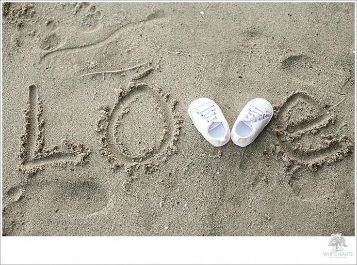 So cute for pregnancy maternity photos!  Baby shoes in the sand!  Image by White…