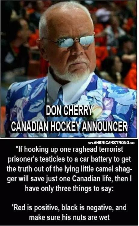 I love Don Cherry, a true national treasure in both Canada and the U.S.