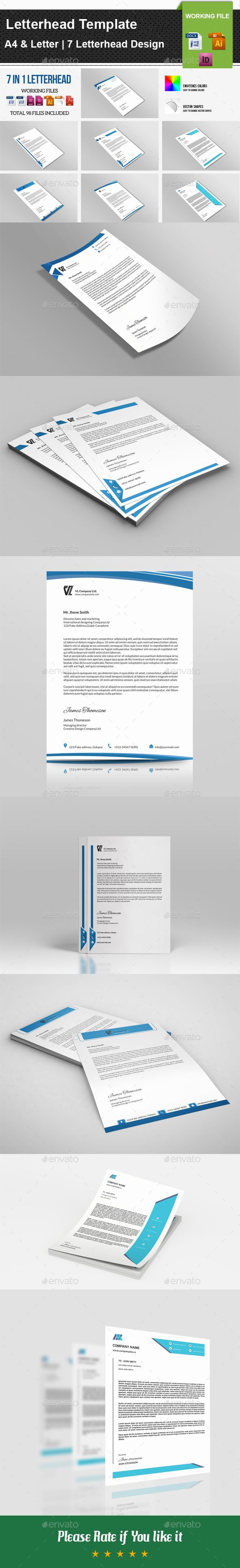 7 in 1 #Letterhead Template V01 - #Stationery Print Templates Download here: https://graphicriver.net/item/7-in-1-letterhead-template-v01/19724554?ref=alena994