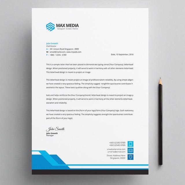 Modern Company Letterhead Psd Template In 2020 Letterhead