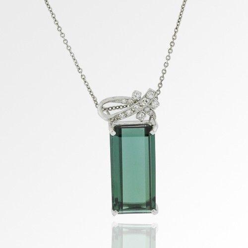 H.Stern 18k White Gold Green Tourmaline Diamond Necklace tourmaline necklaces