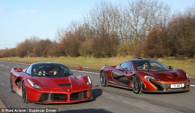 Cruising: Mr Bailey drove his £866,000 McLaren supercar, right,from his home in Rutland, East Midlands, to a Ferrari dealership in Nottingham where he picked up his limited edition Ferrari LaFerrari, left