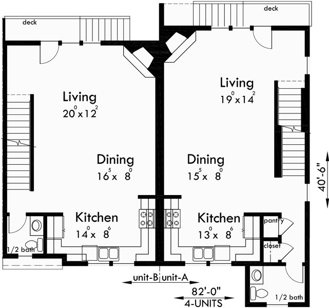 101 best triplex and fourplex house plans images on for 4 plex house plans