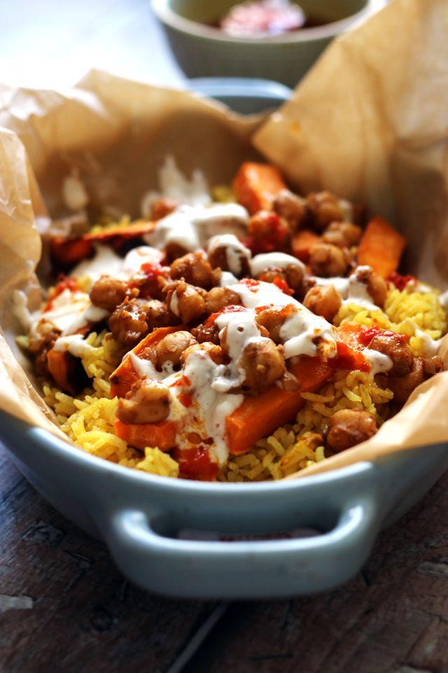 Halal Street Cart Chickpeas With Turmeric Rice Tahini Yogurt Sauce And Harissa Oil Joanne Eats Well With Others Recipe Halal Recipes Recipes Vegetarian Vegan Recipes