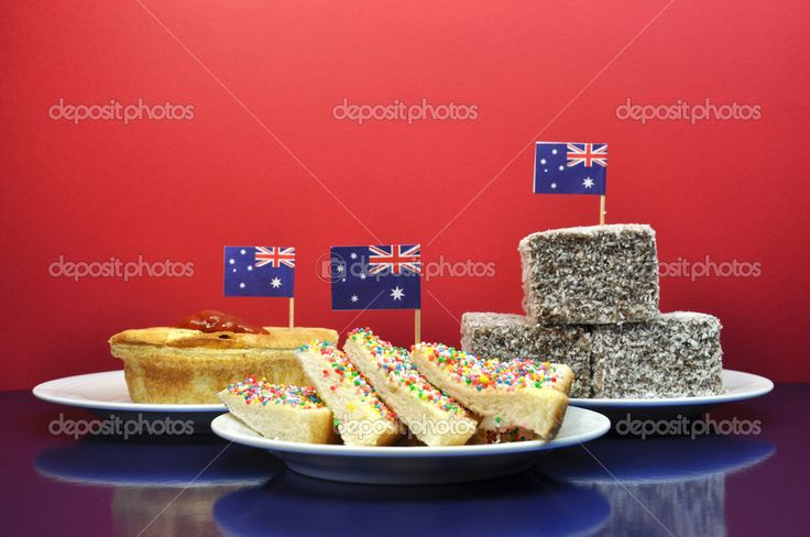 Typical Australia Day food. lamingtons, fairy bread, Meatpies