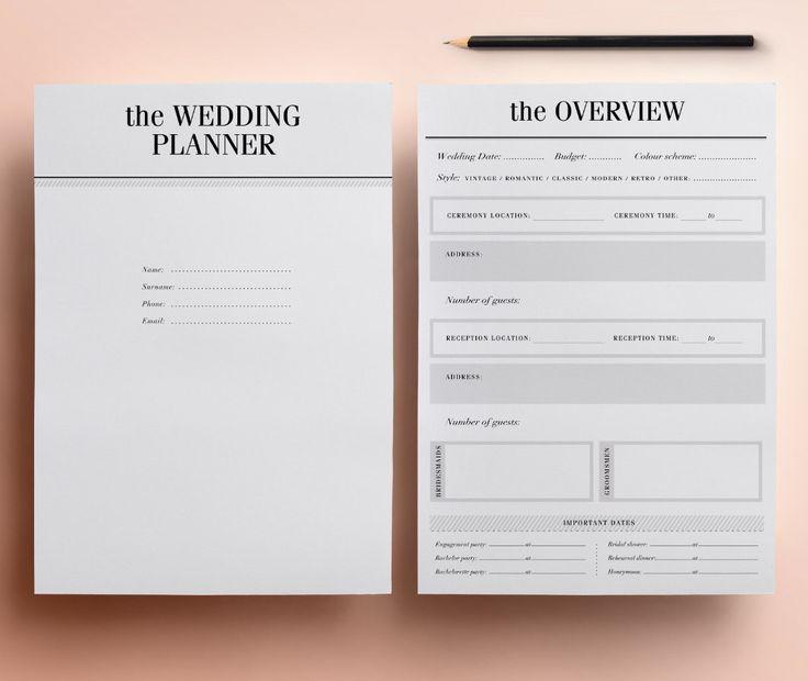 Wedding Planner Printable - Ultimate Printable Wedding Planning Kit: 37 Modern Organizer Pages, Checklist, Budget A4/Letter INSTANT DOWNLOAD par CrossbowPrintables sur Etsy https://www.etsy.com/fr/listing/210892372/wedding-planner-printable-ultimate