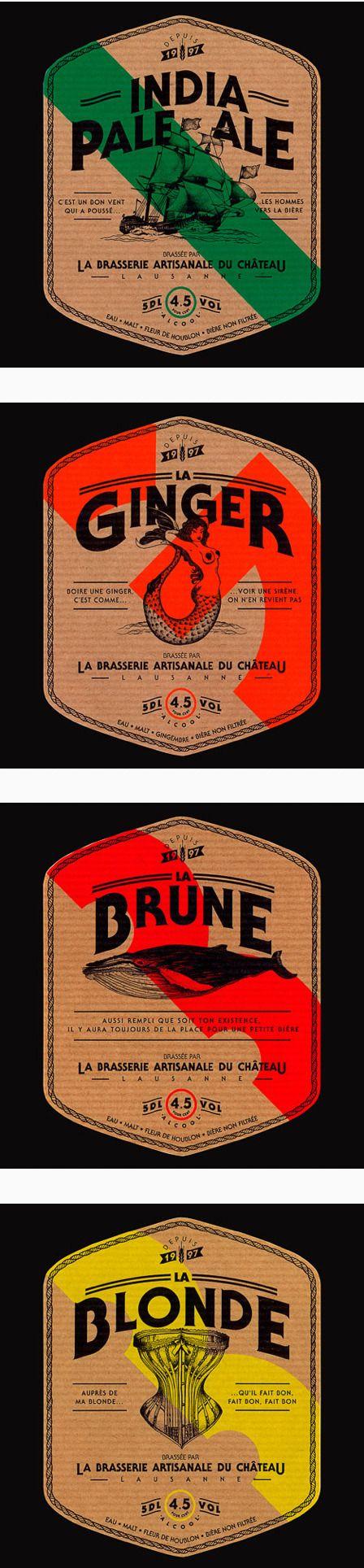 Brasserie Artisanale du Château modern vintage labels