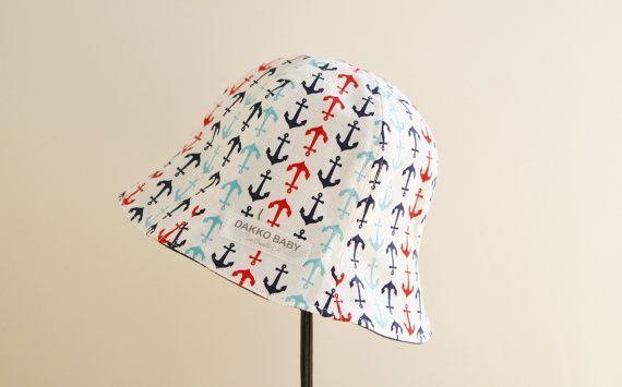 Anchor print baby boy summer hat, baby reversible hat, denim baby hat for summer, kids sun hat - made to order