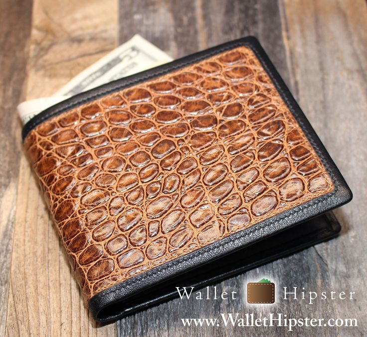 Brown Crocodile-Print Men's Bifold Wallet — FREE SHIPPING — Limited Quantities –…