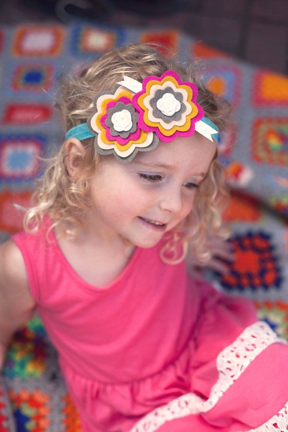 Beautiful layered felt flower ribbon headband by MazieandHazel, $12.00