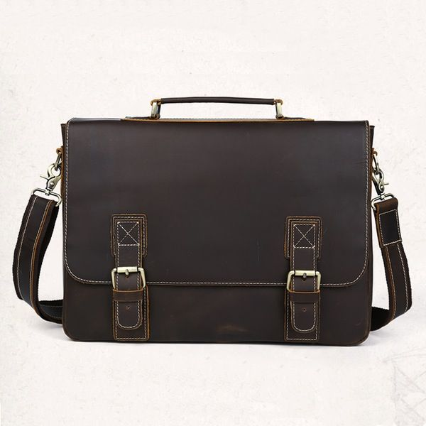 """Image of Handmade Vintage Distressed Leather Messenger Briefcase 14""""15"""" Laptop Macbook Case--FREE SHIPPING"""