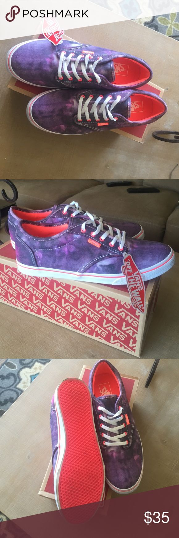 Atwood Low Festival Off White / Neon Vans Perfect condition, only worn once! Awesome purple Galaxy coloring! Vans Shoes Sneakers