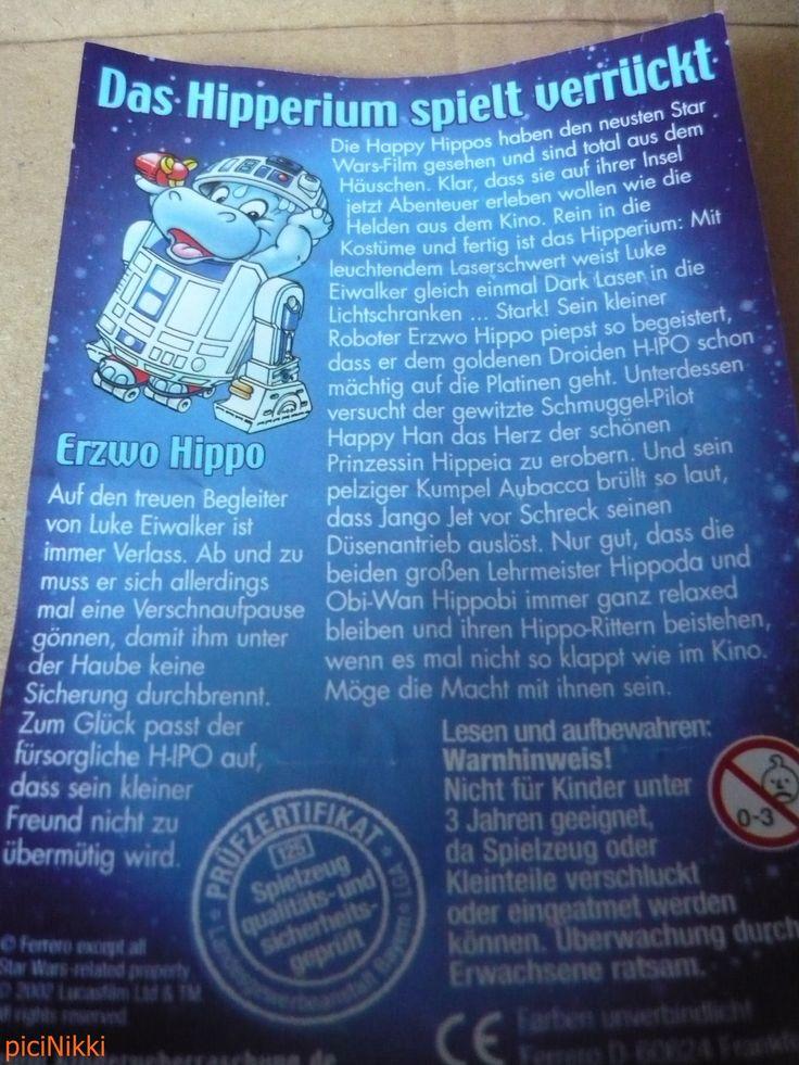 No. 27 | víziló | hippo | Happy Hippo | Kinder | Erzwo Hippo | Star Wars