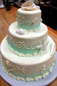 Aqua Seashell With Green Sea Weed Wedding Cakes