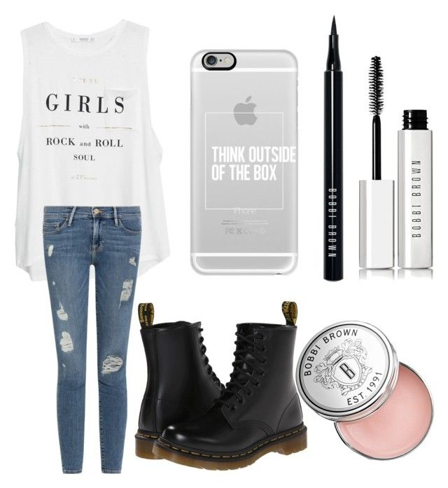 """✌️✌"" by jasminehekekire on Polyvore featuring MANGO, Frame Denim, Casetify, Dr. Martens and Bobbi Brown Cosmetics"