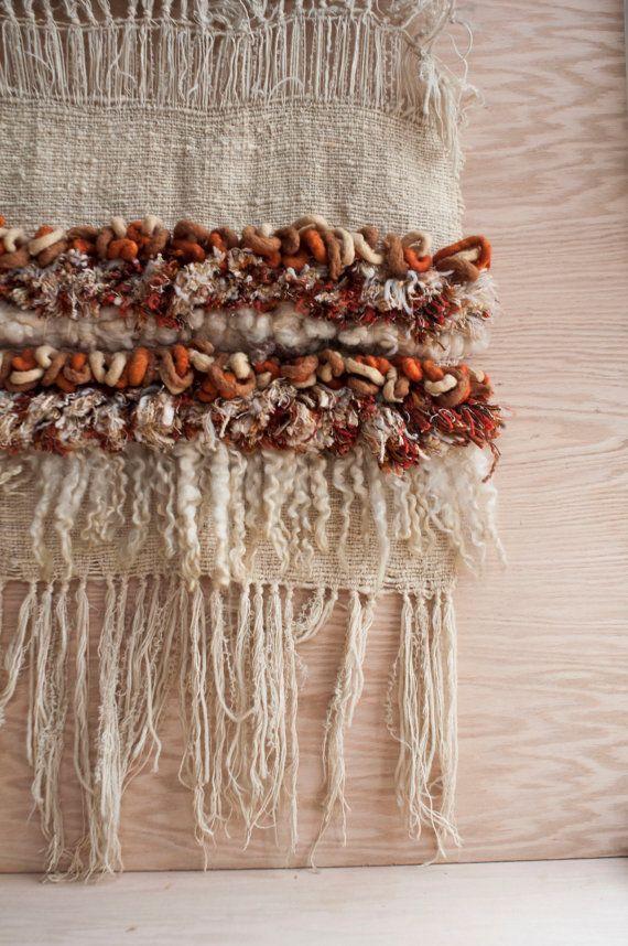 yarn weaving fiber art /neutral fiber art by klinker on Etsy, $175.00