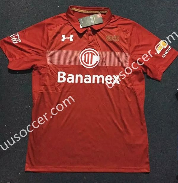 2017-18 Deportivo Toluca FC Red Thailand Soccer Jersey AAA