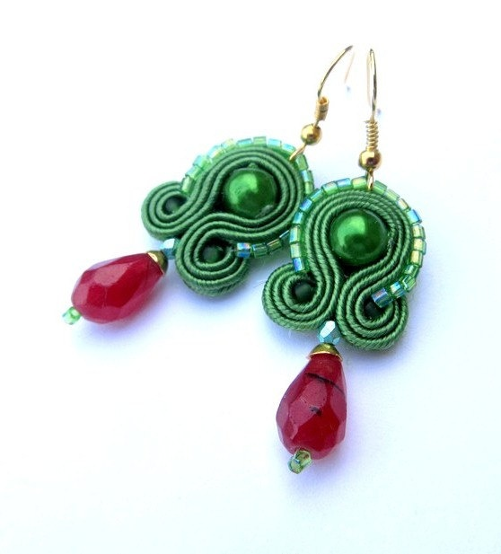 Eye-catching Soutache Earrings Green Red Gold Gift Colorful Faceted Ruby Handmade Soutache Jewelry via Etsy