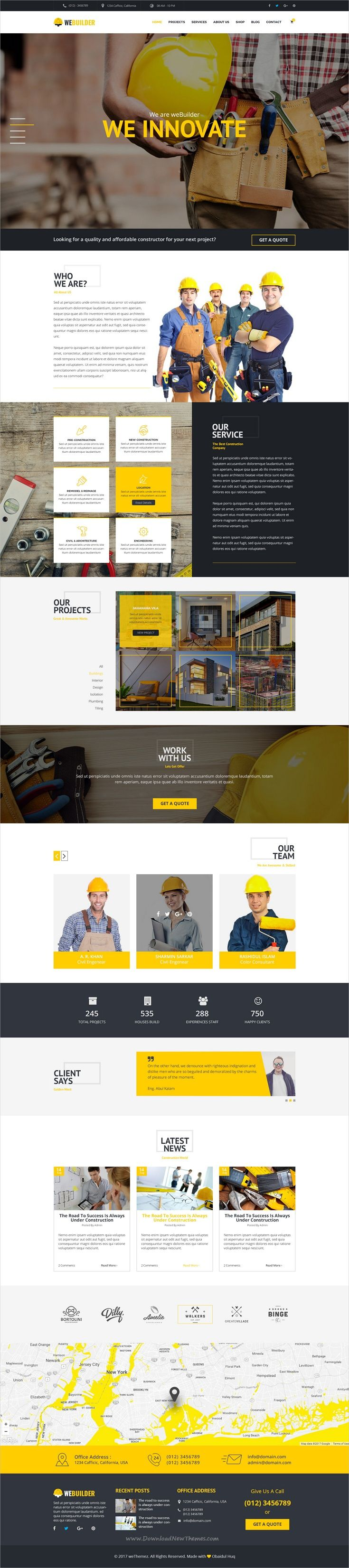 Webuilder is clean and modern design #PSD template for #construction and #building companies website with 9 layered PSD files download now➩ https://themeforest.net/item/webuilder-construction-building-psd-template/19620033?ref=Datasata