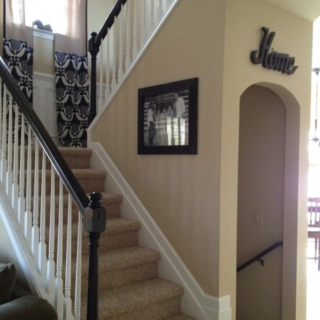 Give your home a new updated look by painting your stair banisters black.