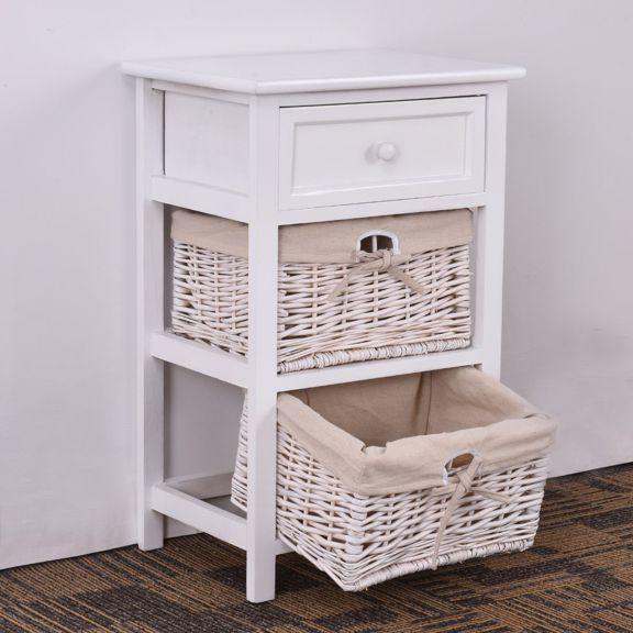 2pcs Bedside Table Bedroom Cabinet Organizer Night Stand 2 Drawer Basket Storage