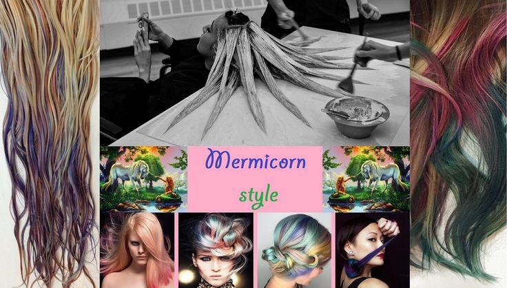 Tanto tempo fa un unicorno e una sirena si innamorarono... e dal loro amore nacque il Mermicorn Style :-D Ovviamente scherziamo, ma lo stile Mermicorn (Mermaid + Unicorn) è l'ultimissima tendenza a far parlare di sè nel mondo della moda e dei Social Network: in pratica è una particolare tecnica di applicazione del colore in cui i capelli vengono stesi letteralmente su un tavolo suddividendoli a raggiera in modo tale da creare l'effetto desiderato colorandoli a piccole ciocche.