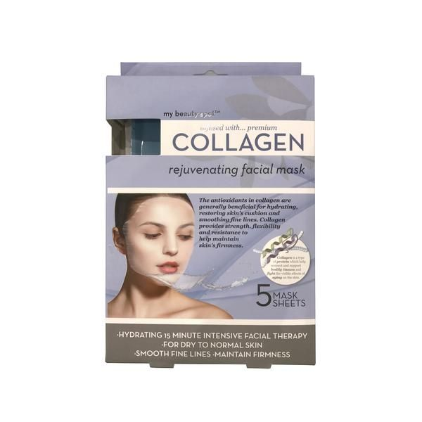 My Beauty Spot's hydrating 15 minute intensive facial therapy for dry to normal skin contains 5 mask sheets. The antioxidants in collagenare beneficial for hyd