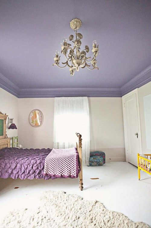"An eclectic family home in Springfield, MO: ""I wanted Lula to have a dreamy, magical room that she could grow into. There are still many details unfinished, but overall I'm pretty happy with the results. The purple is Oatlands Violet by Valspar from Lowe's. The walls and baseboard are Skimming Stone and Elephant's Breath by Farrow & Ball matched at Lowe's."" #sneakpeek"