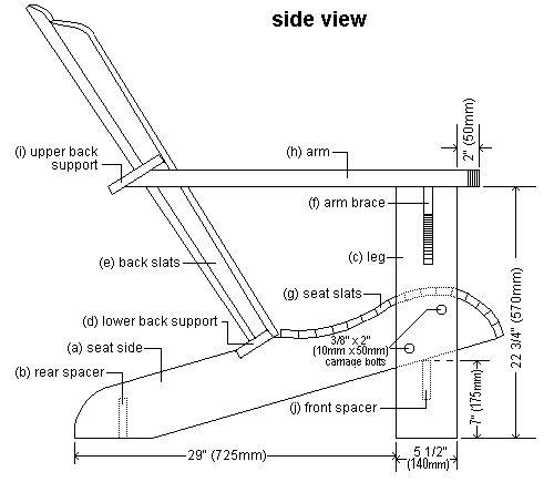 side elevation plan of Cape Cod aka Adirondack chair
