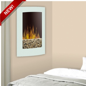 Dimplex 23 Inch Convex White Wall Mount Electric Fireplace