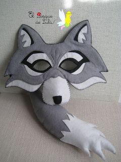 El Bosque de Lulú: Mascara y rabo de lobo en fieltro