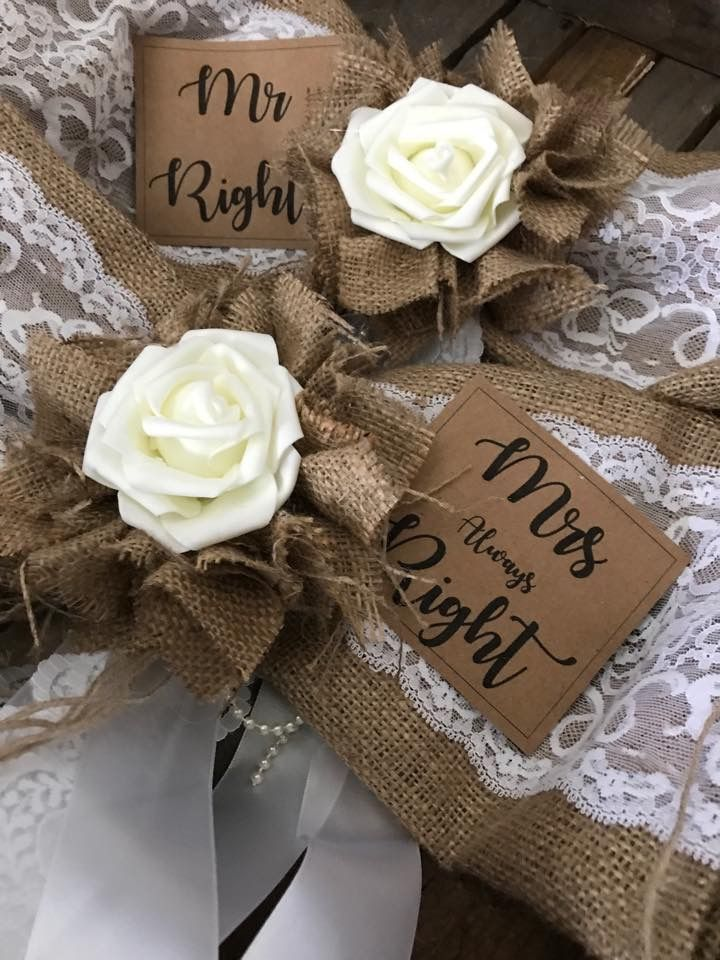 Mr and Mrs chair bows
