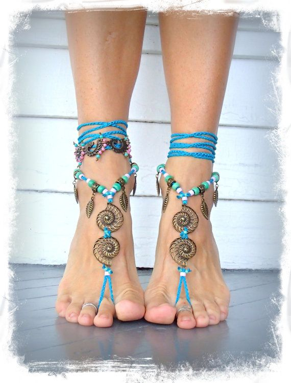 Ready to ship. Blue NAUTILUS BAREFOOT sandals Toe Thongs by GPyoga