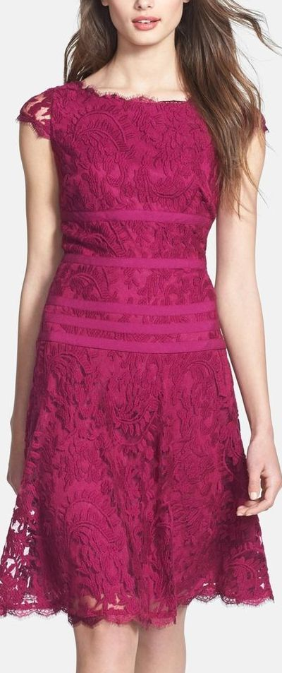 lace fit and flare dress... would be spectacular if it wasn't so PINK. I vote for light turquoise or violet