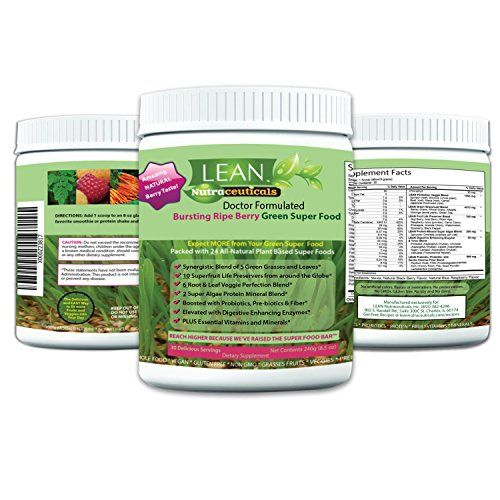 LEAN Nutraceuticals Green Superfood Powder Doctor Formulated Super Greens Mix 240g 30 Servings Natural Blackberry and Blue Raspberry