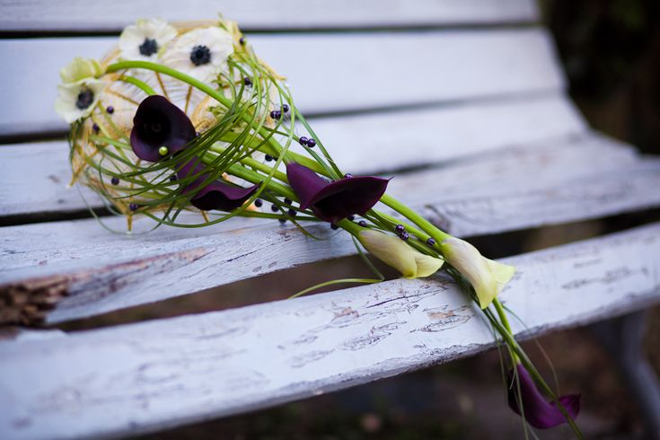 Calla lily, anemone and beargrass bouquet on wire frame by NO NO NO