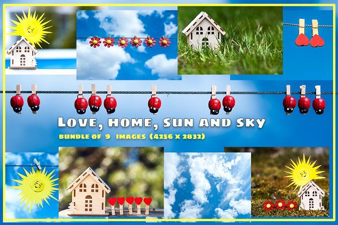 Home, love, sun and sky bundle  by Wildstrawberry Photos on @creativemarket