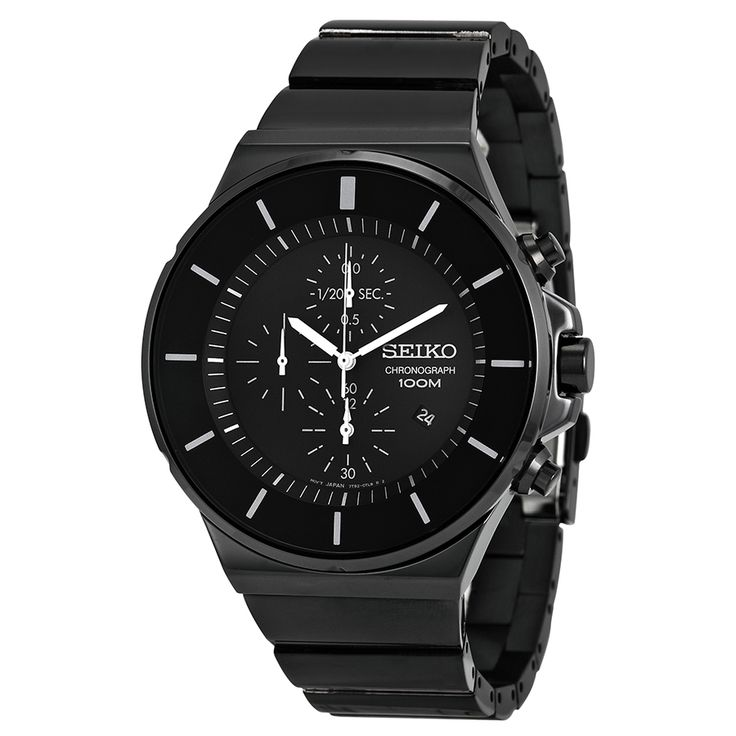 Seiko Black Dial Chronograph Black PVD Stainless Steel Men's Watch SNDD83