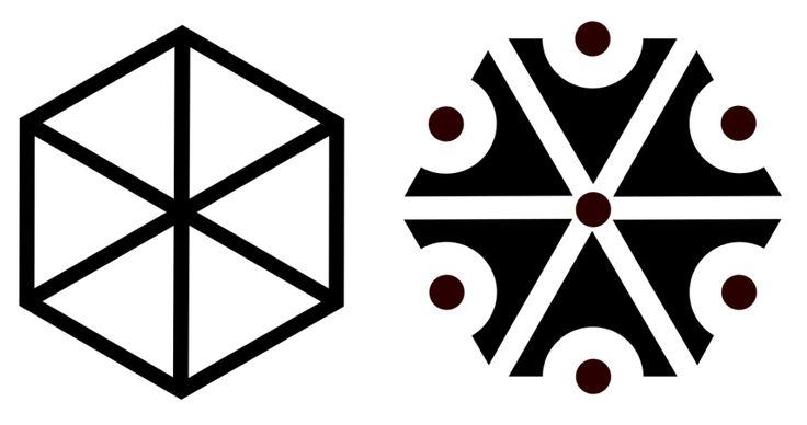 Symbolem Peruna było sześcioramienne koło bądź sześciokąt foremny. Znak ten na terenie Słowian zachodnich powszechnie był żłobiony na belkach powały bądź innych punktach domostwa po to, by zabezpieczyć je przed uderzeniem pioruna i nawałnicami.