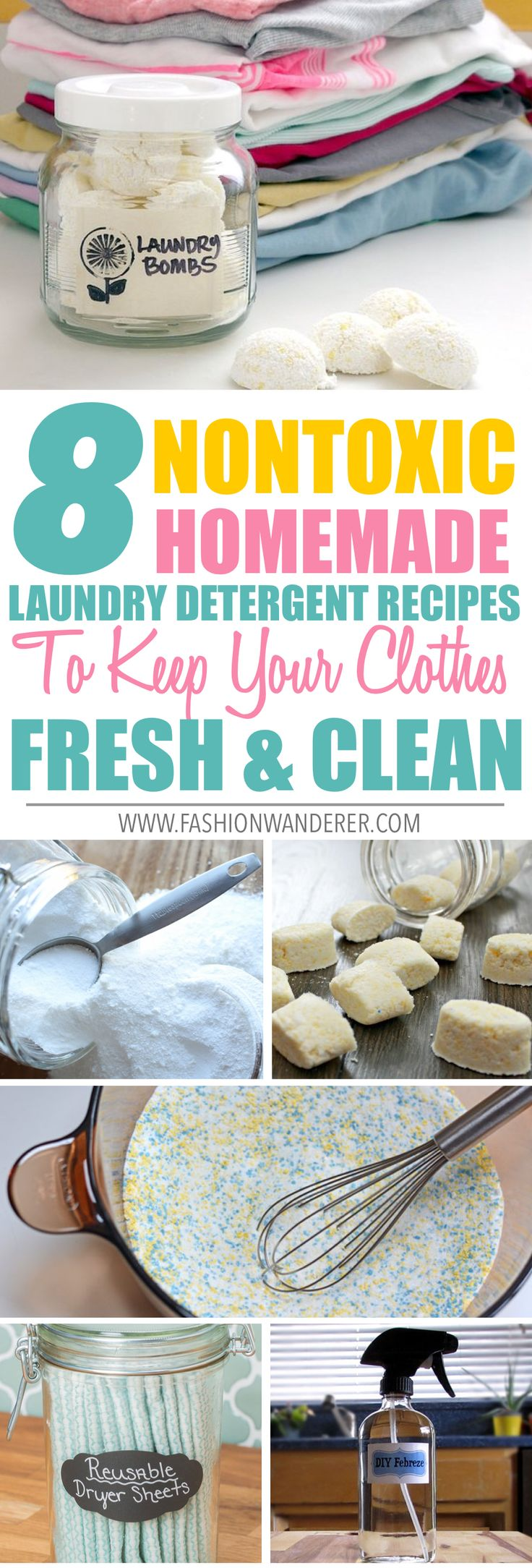 These 8 nontoxic homemade laundry detergent recipes are THE BEST! I'm so glad to find these awesome natural recipes not only they works with any clothes but also it is chemical-free and budget friendly and super easy to make! I have sensitive skin and using essential oils really helps! From DIY febreze, liquid and powder detergents with no borax to laundry dry sheets, laundry pods, fabric softener and many more! Definitely pinning!   #laundrytips #homemade #nontoxic #recipes #cleaningtricks…