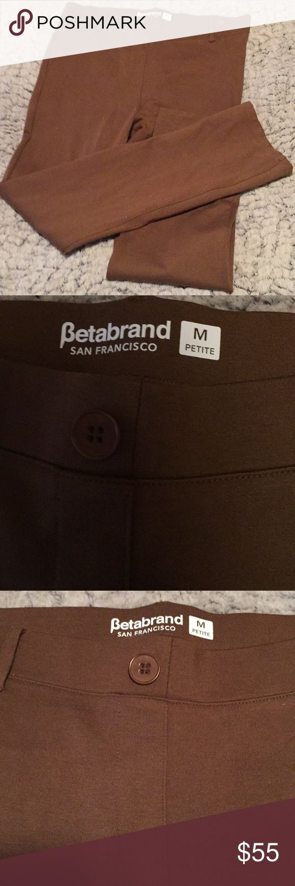 Betabrand Dress Yoga Pants Faux Pocket Brown P M EUC. Super comfy! betabrand Pants