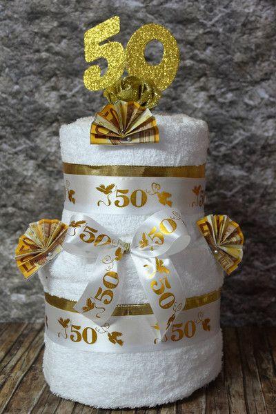 Geldgeschenke - XXL GELD GESCHENK HANDTUCHTORTE *GOLDENE HOCHZEIT* - ein Designerstück von Xawega bei DaWanda